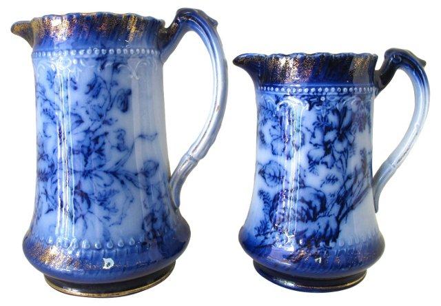 Antique Flow Blue Pitchers, Pair
