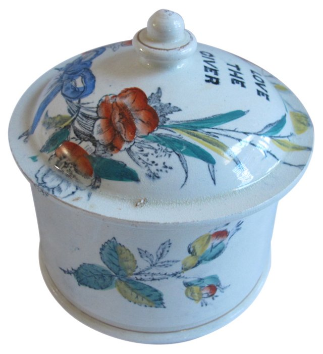 Early Staffordshire Pot w/ Motto