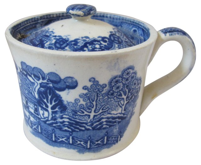 Antique Willow Pattern Mustard Pot