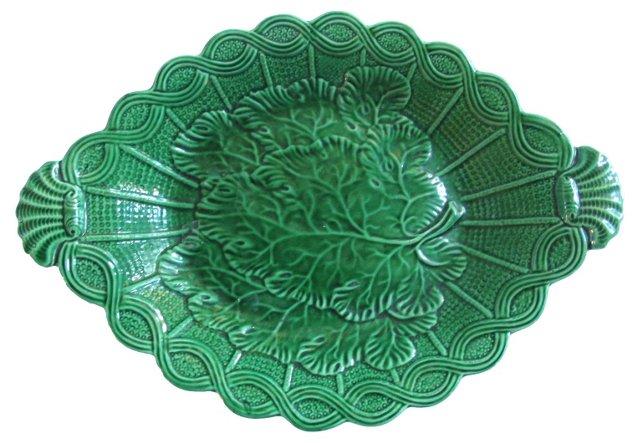 Antique  Majolica Basket Weave Dish