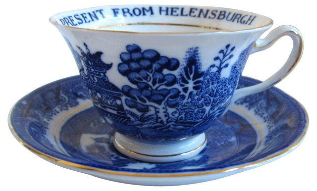 English Willow Souvenir Cup & Saucer
