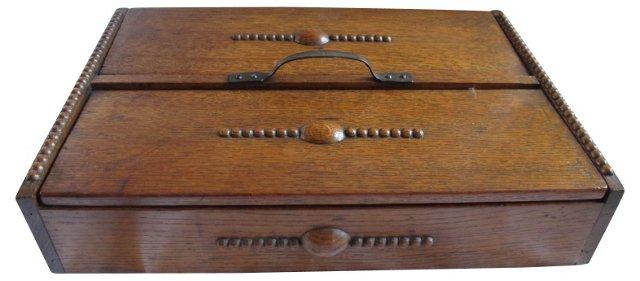 Arts & Crafts Oak Cutlery Box