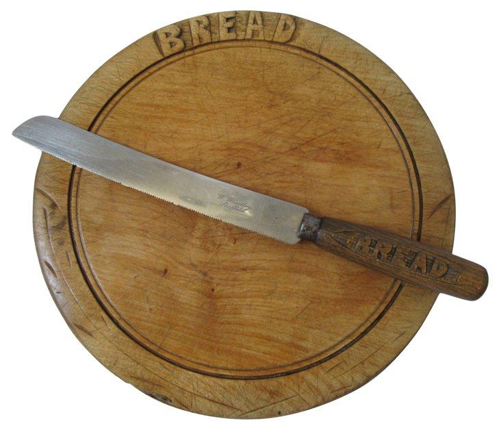 Hand-Carved Wood Breadboard & Knife