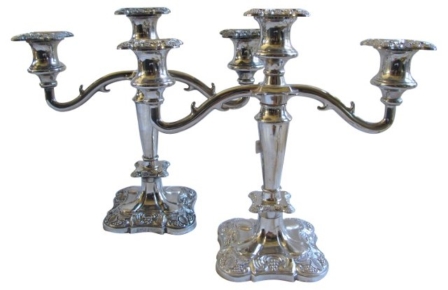 English Silverplate Candelabras,  Pair