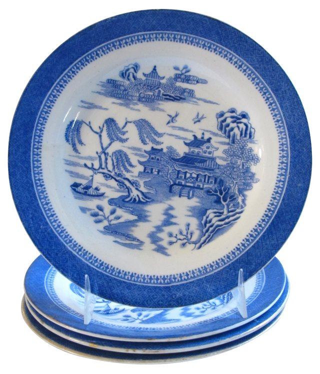 Spode Willow  Plates, S/4