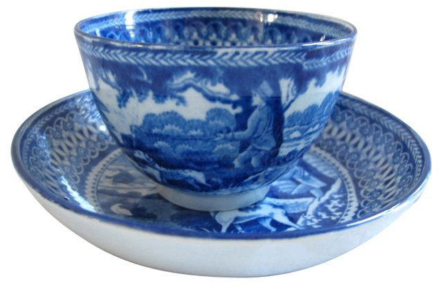 Hunting Dog Cup & Saucer, C. 1820