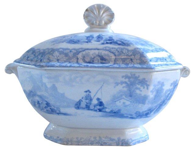 Antique Blue Transferware Tureen