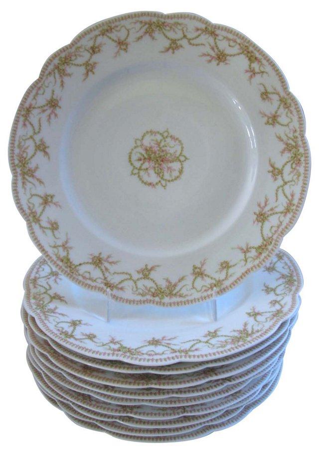 Limoges Porcelain Luncheon Plates, S/8