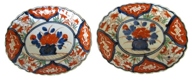 Antique Japanese Porcelain Dishes, Pair