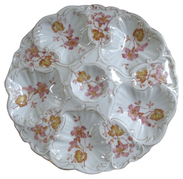 Hand Painted Oyster Serving Plate