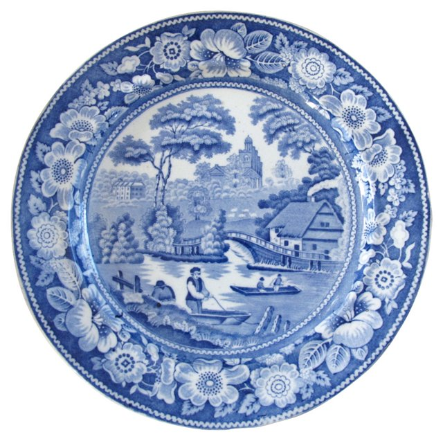 19th-C. Wild Rose English Wall Plate