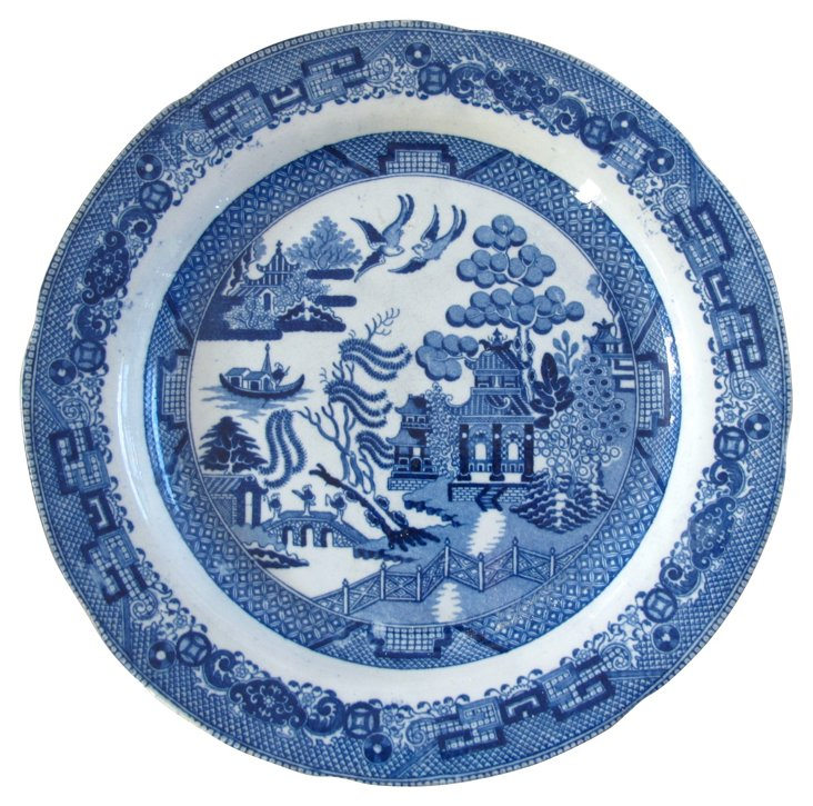 Blue & White Willow Wall Plate, C. 1820