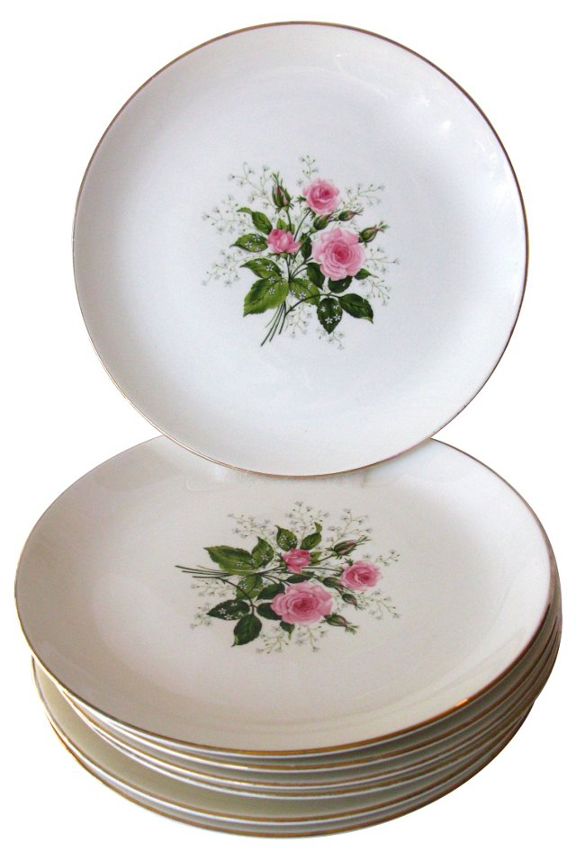 Pink Rose Dinner Plates, S/7