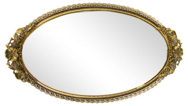Gilded Floral Mirrored Vanity Tray