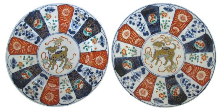 Antique Porcelain Japanese  Plates, Pair