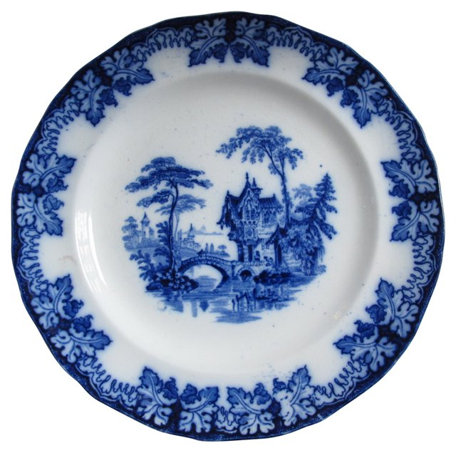 19th-C. Flow Blue Grapevine-Border Plate