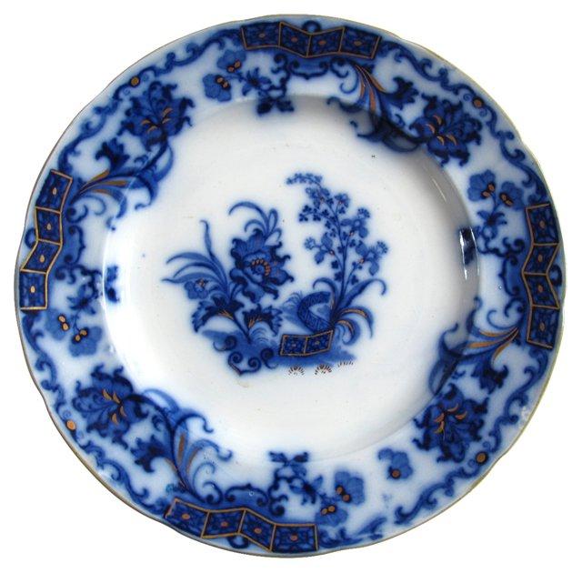 Flow Blue Floral Plate