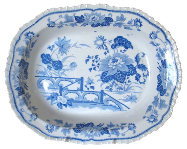 English Transferware Pie Dish, C. 1820
