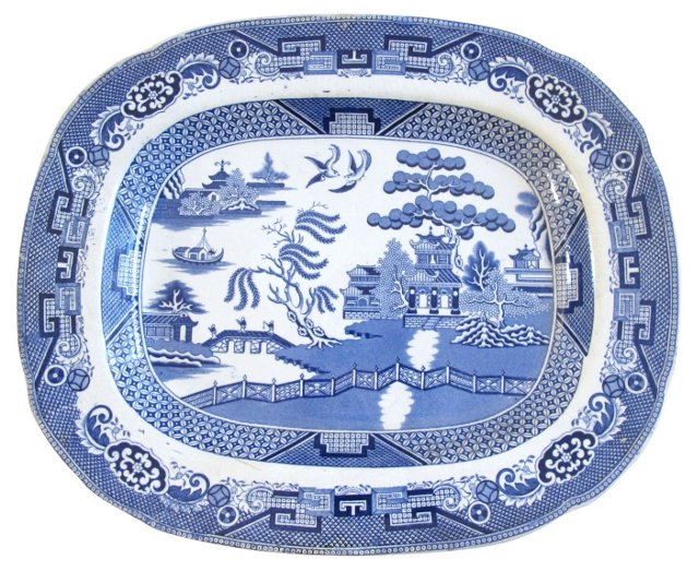 Blue & White Transferware Willow Platter