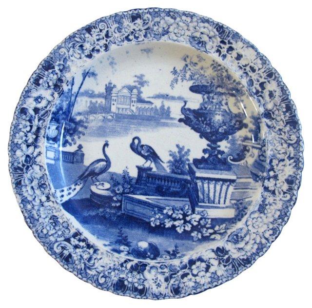 Antique Staffordshire Plate w/ Birds