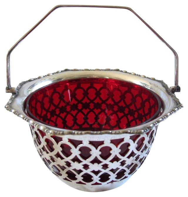 Silverplate Basket w/ Cranberry Glass