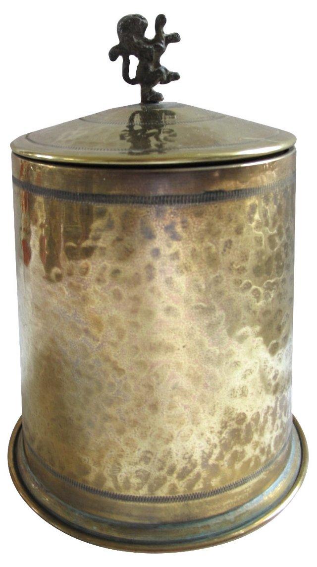 English Brass Biscuit Jar w/ Lion