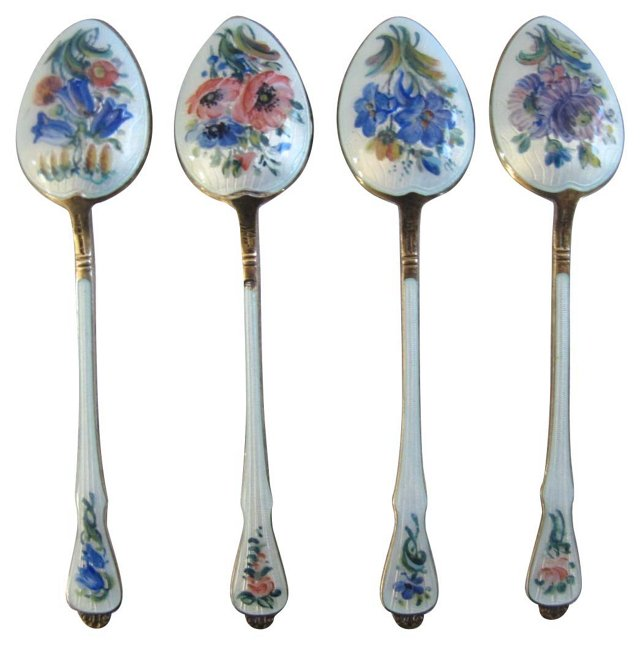 Hand-Enameled Sterling Spoons, S/4