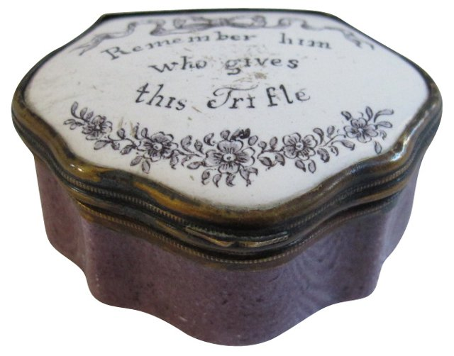 English Enamel Patch Box, C. 1770