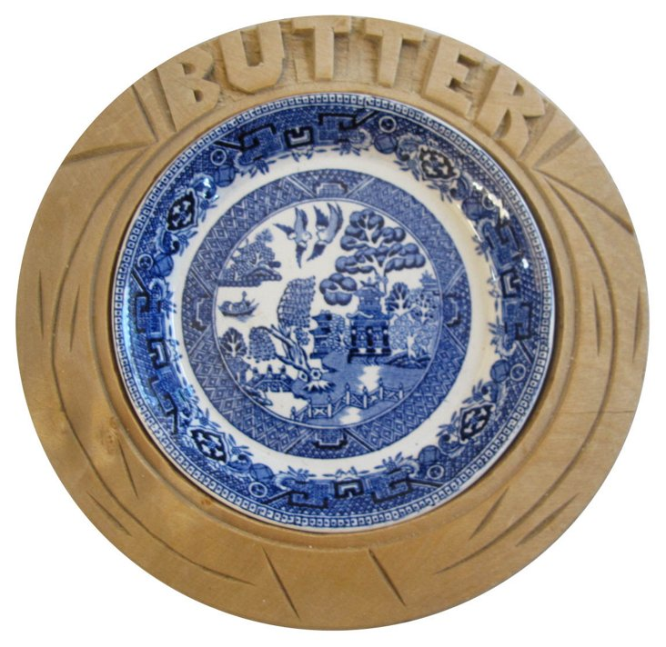 Carved Wood & Willow Butter  Dish
