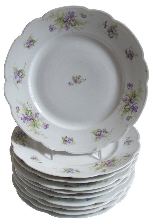 Scalloped Edge Porcelain Plates, S/10