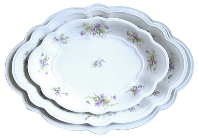 Porcelain Serving Platters, S/3