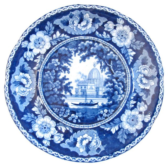 Dark Blue Staffordshire Plate, C. 1830