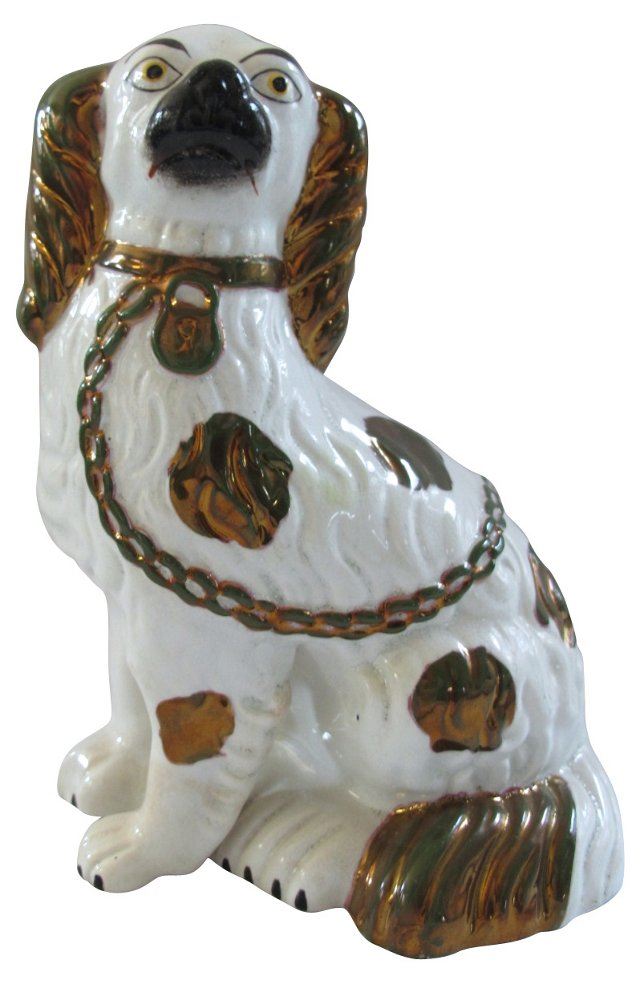 Antique Staffordshire Copper Luster Dog