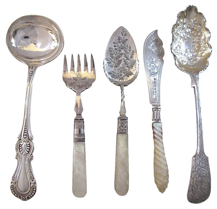 English Silverplate Servers, S/5