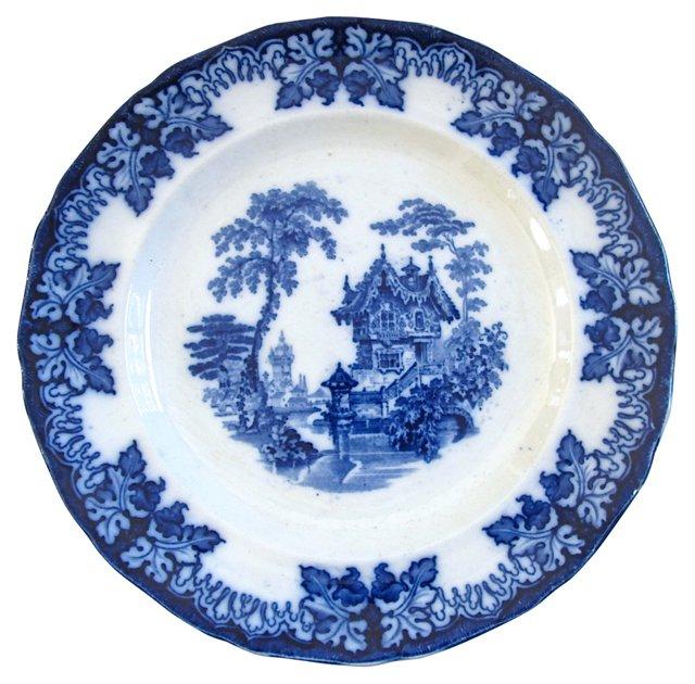 Antique Flow Blue Grapevine Plate