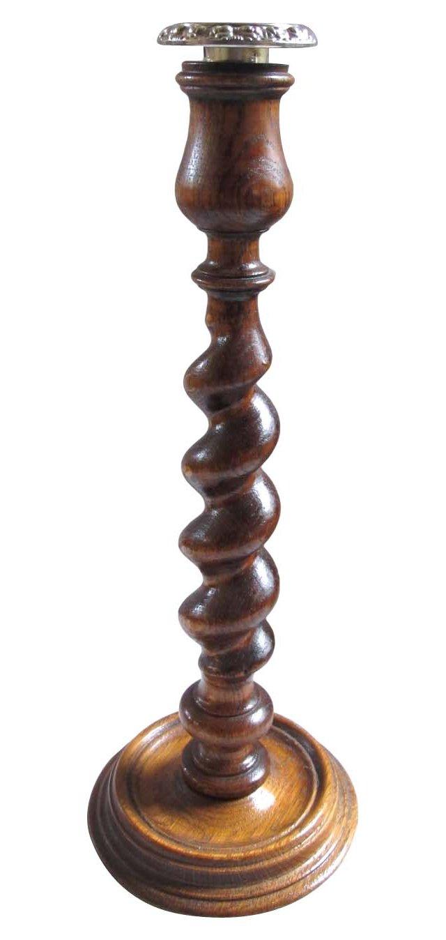 English Oak Twist Candleholder