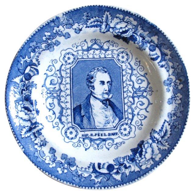 19th-C. Sir. Robert Peel Wall Plate