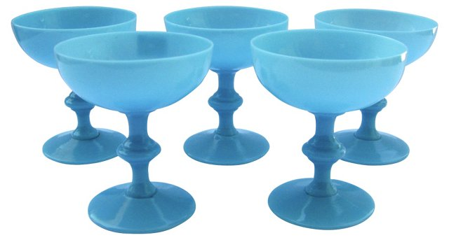 Milk Glass Champagne Glasses, S/5