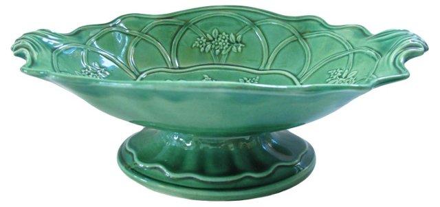 Antique Green Majolica Compote