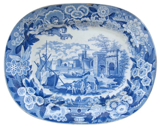 Antique Staffordshire Platter, C.  1820