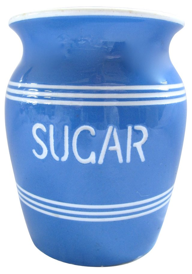 English Blue Sugar Canister