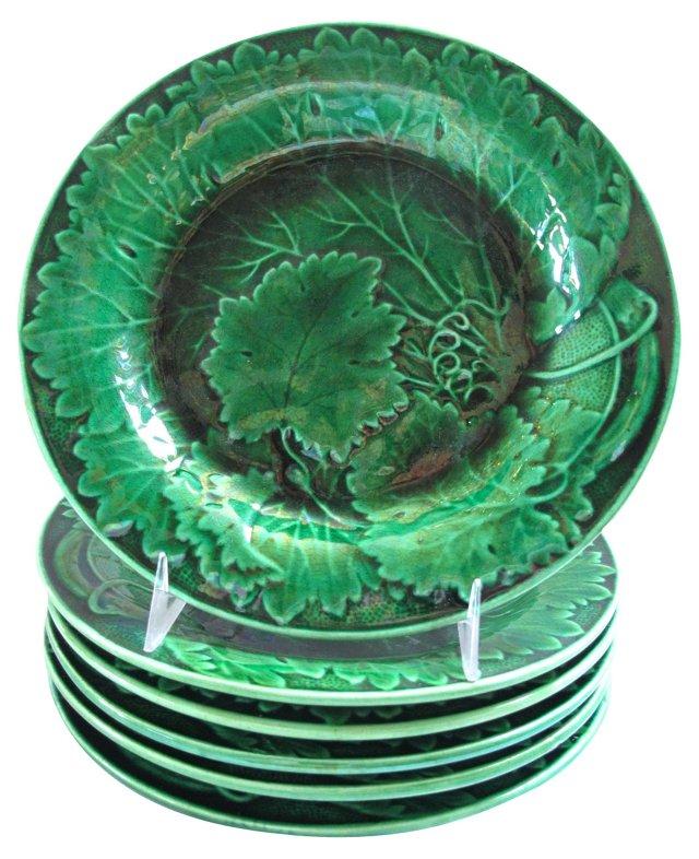 Green Majolica Plates, S/6