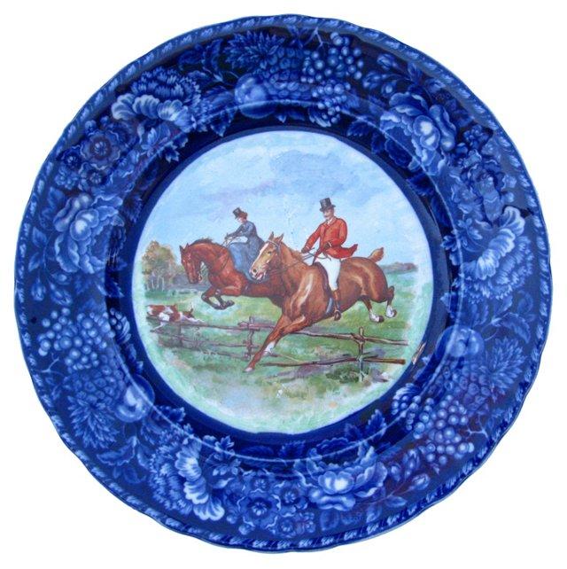 Flow Blue Hunting Scene Wall Plate