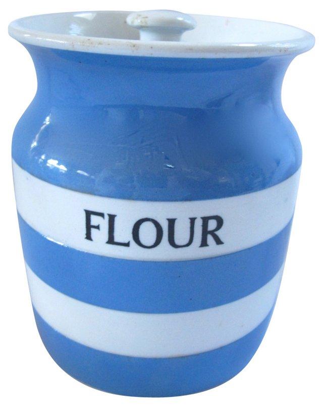 English Cornishware Flour Jar