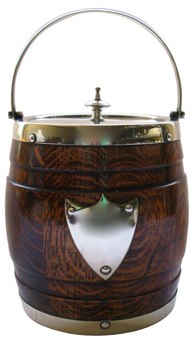Oak & Silverplate Biscuit       Barrel