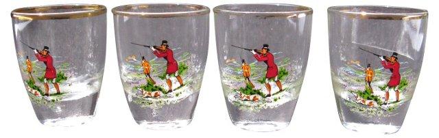 Liquor Glasses w/ Hunting Scene, S/4