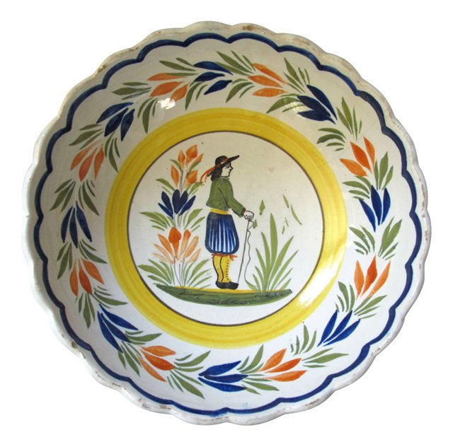 French Quimper Faience Serving Bowl