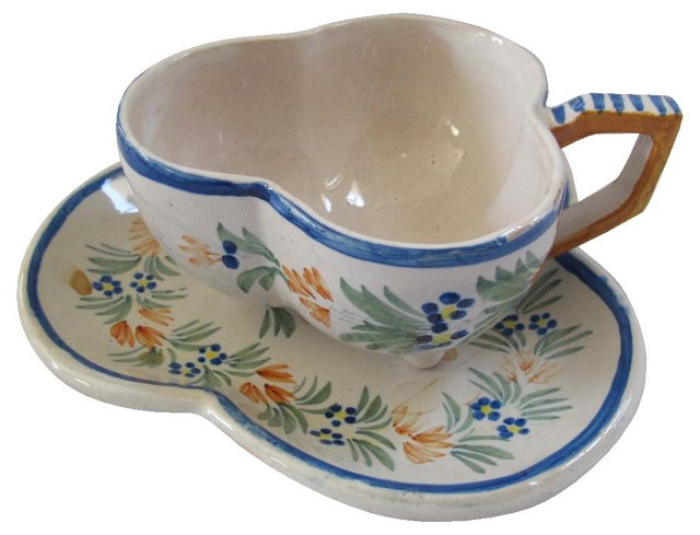 French Quimper Teacup &  Saucer