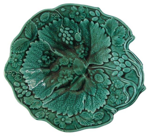 Antique Majolica Grapevine Serving  Bowl