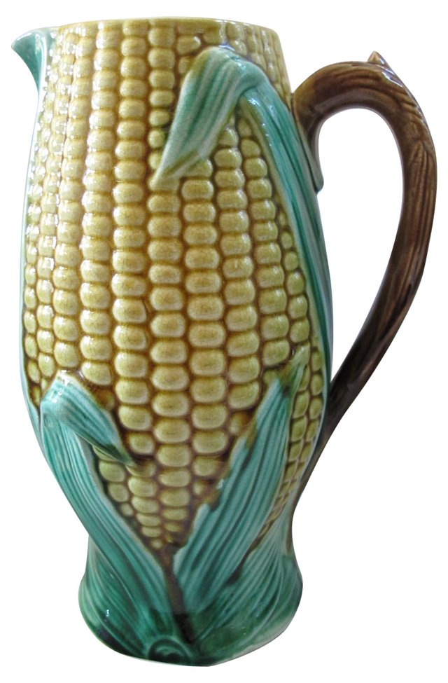 Antique Majolica Corn Quart Pitcher